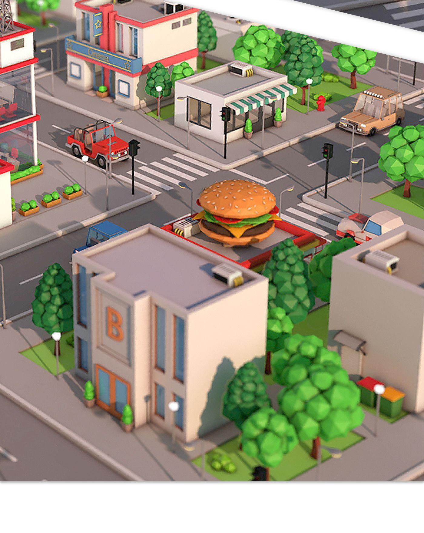 Low Poly City Pack Download 3D Model Formats max, maya