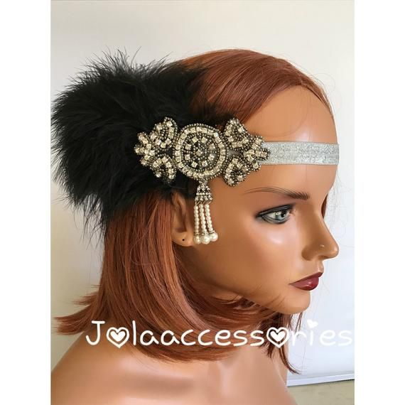 Black silver Great Gatsby 1920s headband Tiara Art Deco headpiece wedding bridal headband Great Gats #flapperhair