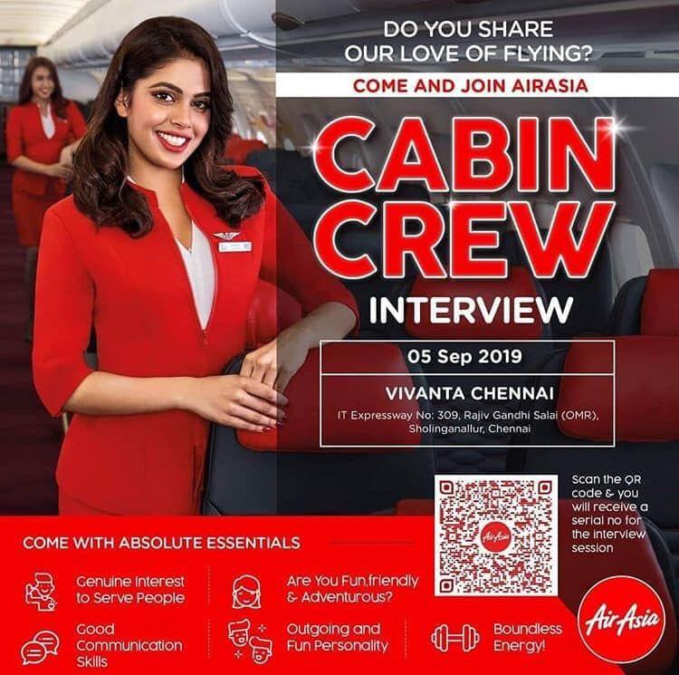 Air Asia India Is Hiring Cabin Crew At Chennai Cabin Crew Air Asia Cabin Crew Jobs