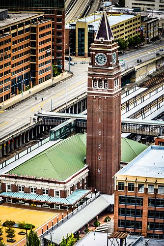View of King Street Train Station Clock Tower from the Smith Tower