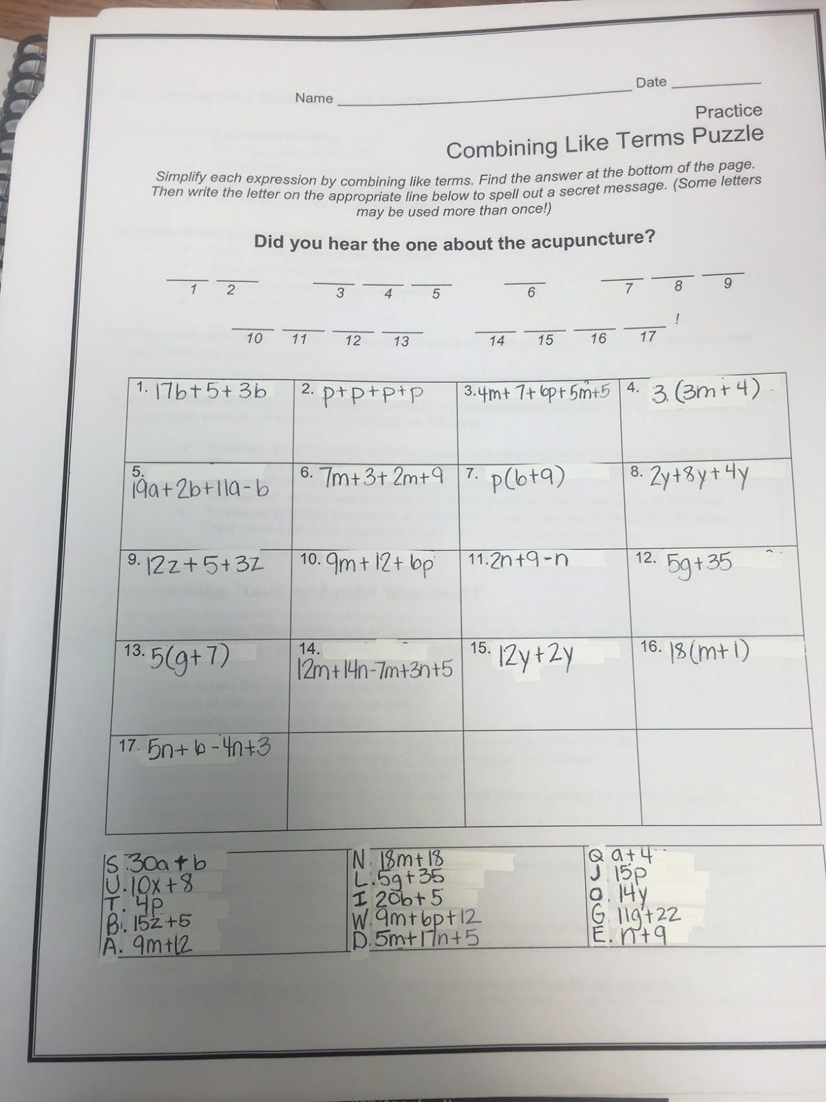 Combining Like Terms Practice Worksheet Elegant Mrs White