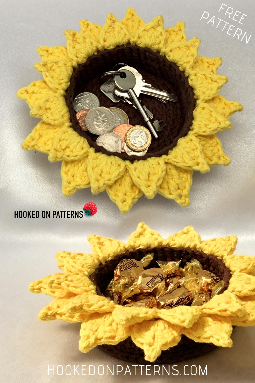 Free Sunflower Basket Crochet Pattern