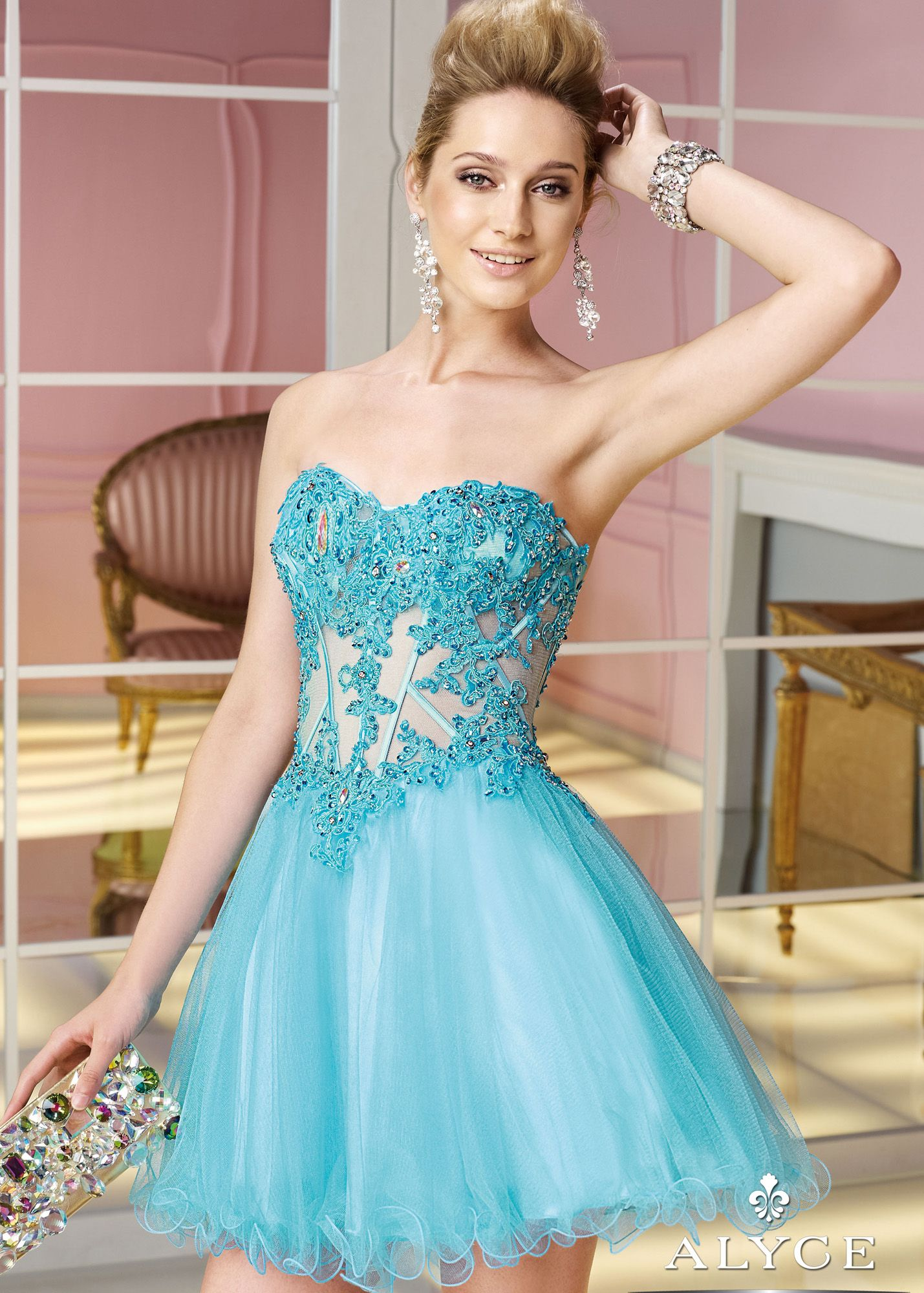 Alyce Paris 3582 - Turquoise Strapless Sweetheart Lace Sweet 16 ...