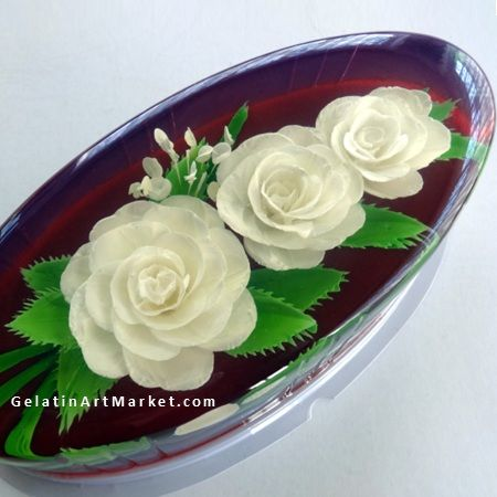 Roses Drawn In Clear Gelatin 100 Edible Yummy Dessert