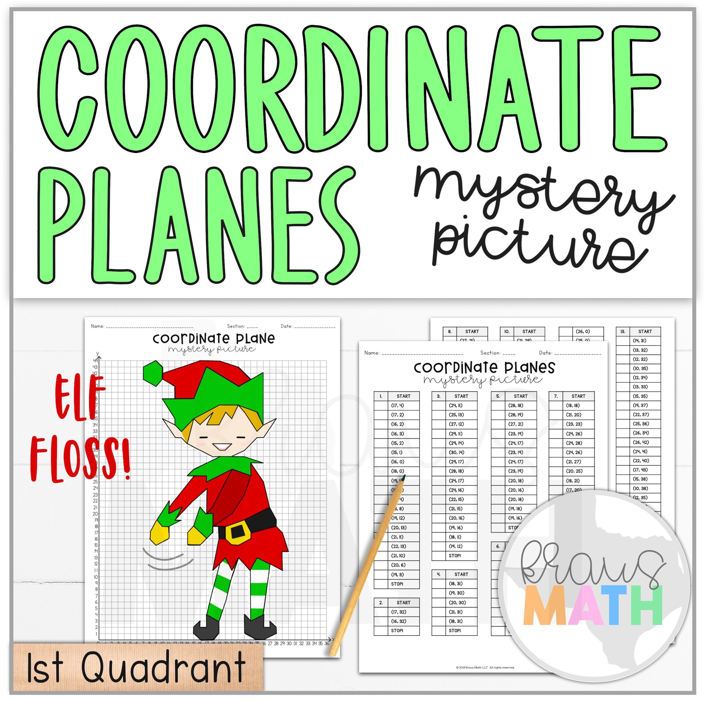 Elf Floss Dance Coordinate Plane Activity 1st Quadrant
