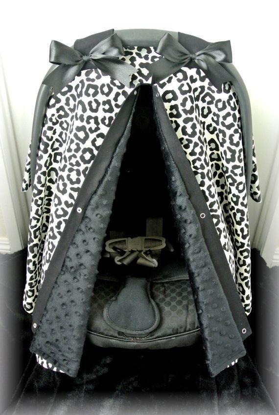 Minky Car Seat Canopy Car Seat Cover Cheetah Black