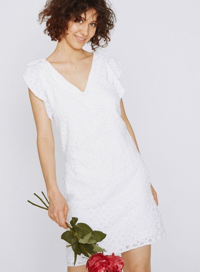 a6f26abaef0 JULIETTE - Robe pour mariage civil courte en dentelle eco-responsable pas  cher Taille Taille
