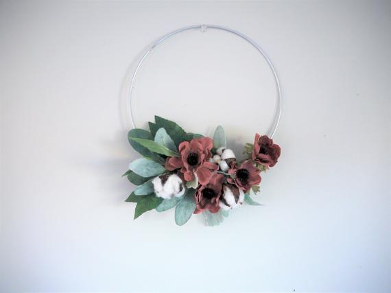 Photo of Woodland Hoop Wreath | 10 Inch Hoop | Lambs Ear Wall Hanging | Flower Hoop Wreath | Mauve, Blush | B