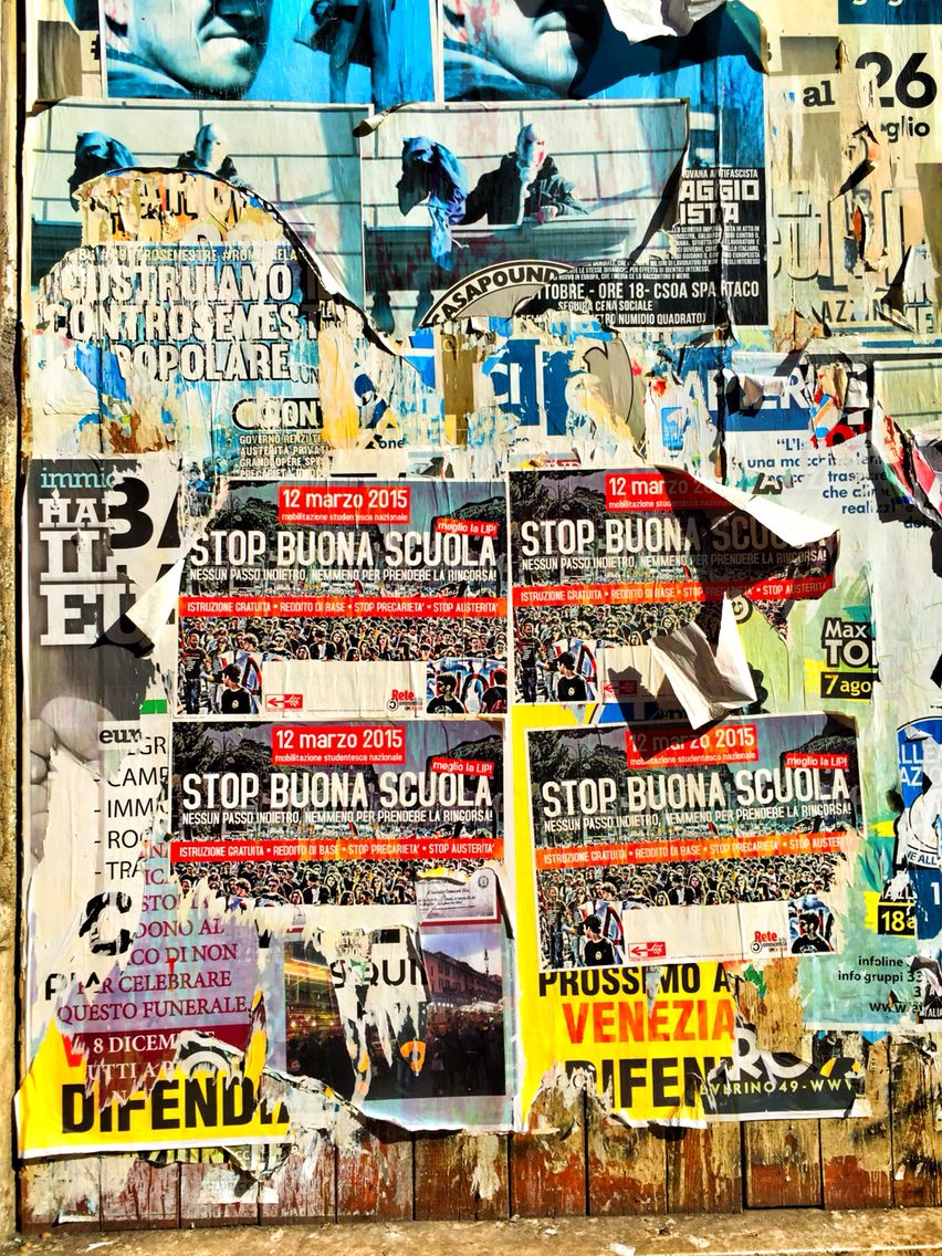 Poster wall in Rome