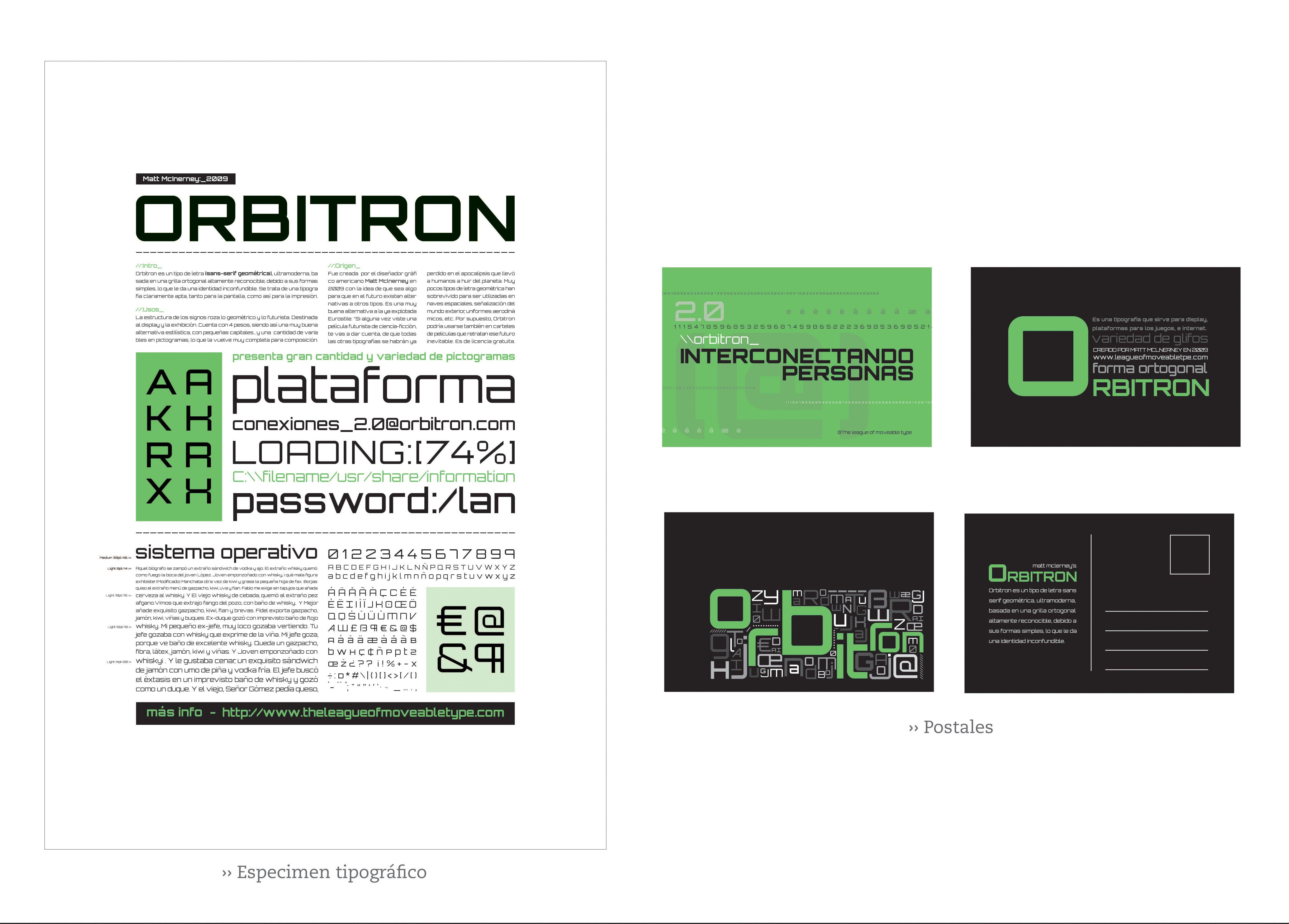 Especimen tipografía Orbritron
