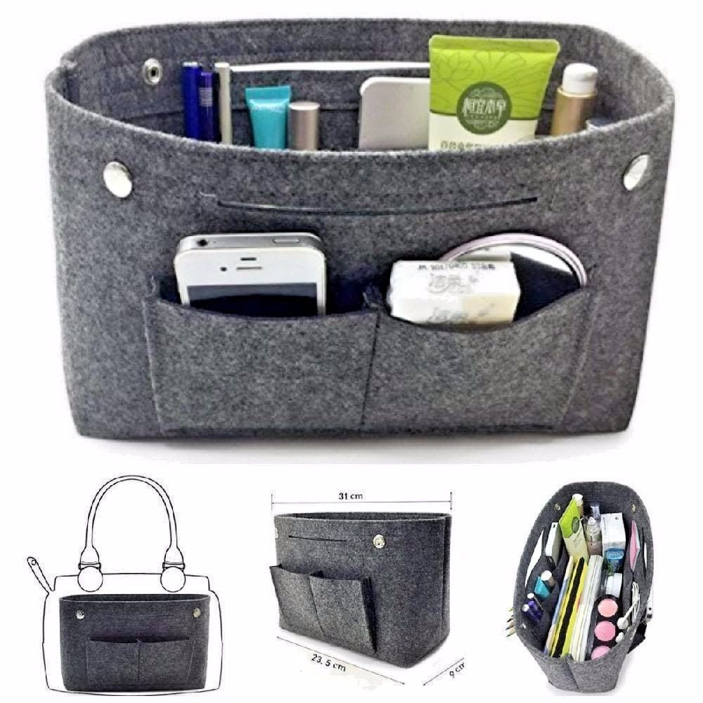 965e2cccb6ab Felt Insert Handbag Tote Purse Organizer Travel Purse Bag Organiser ...