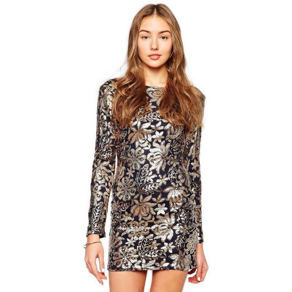 Charlee cooper black gold sequinned backless long sleeve mini dress