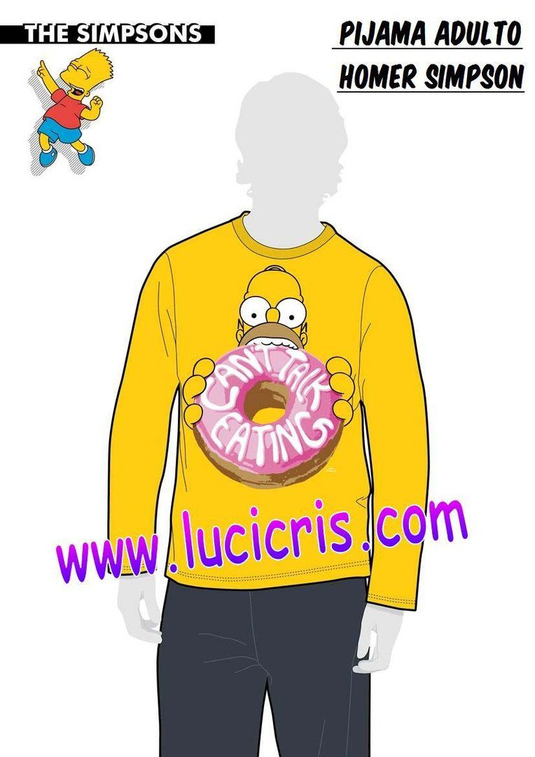 7617ba32f9 Pijama HOMER SIMPSON Adulto Manga Larga Donuts