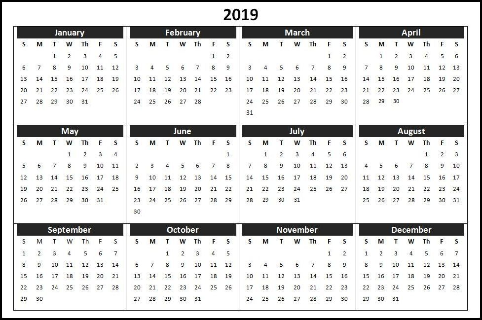 Calendar Template 2019 Word Yearly Calendar in One Page Calendar