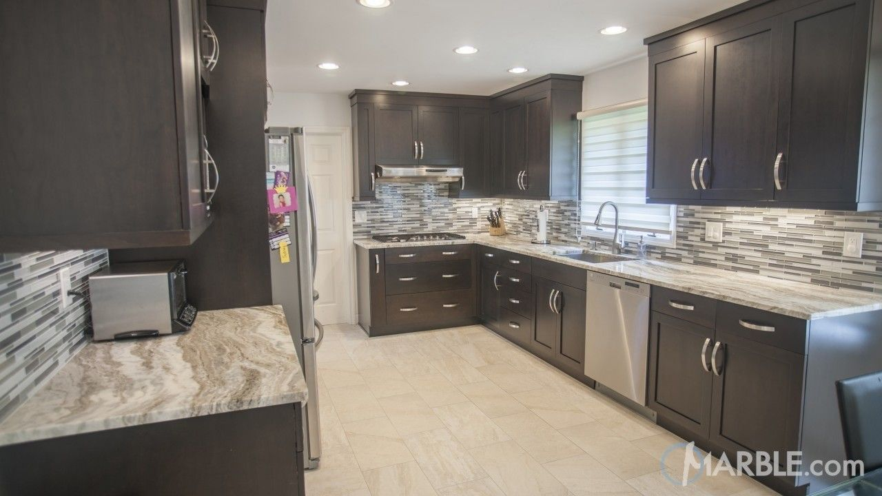 185 Reference Of Dark Granite Countertops With Grey Cabinets In 2020 Grey Countertops Dark Kitchen Cabinets Brown Cabinets