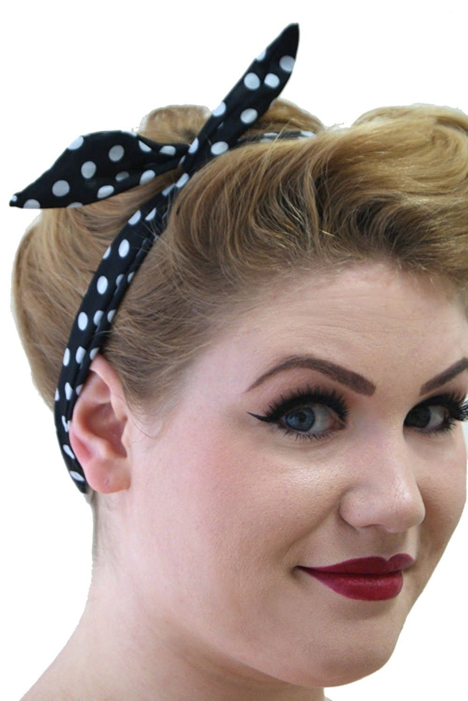 Tiffany Womens Vintage Retro Rockabilly Headband - Black White Polka Dots -  C411YOGGBAZ - Hats   Caps 92d97ebf25a