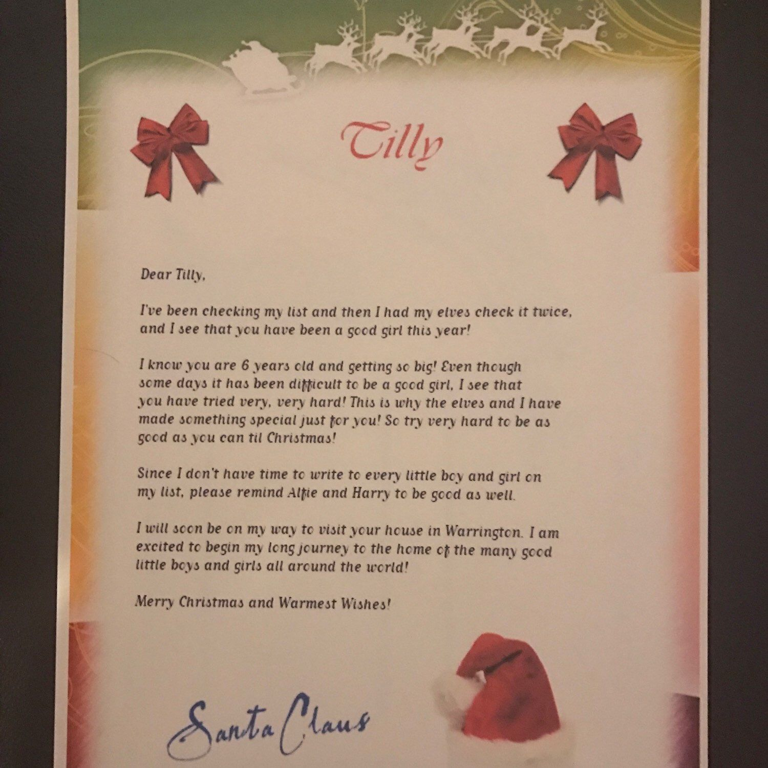 Personalised letters to santa have arrived