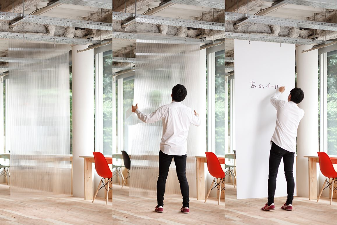 Open source furniture polycarbonate panels enable to edit space