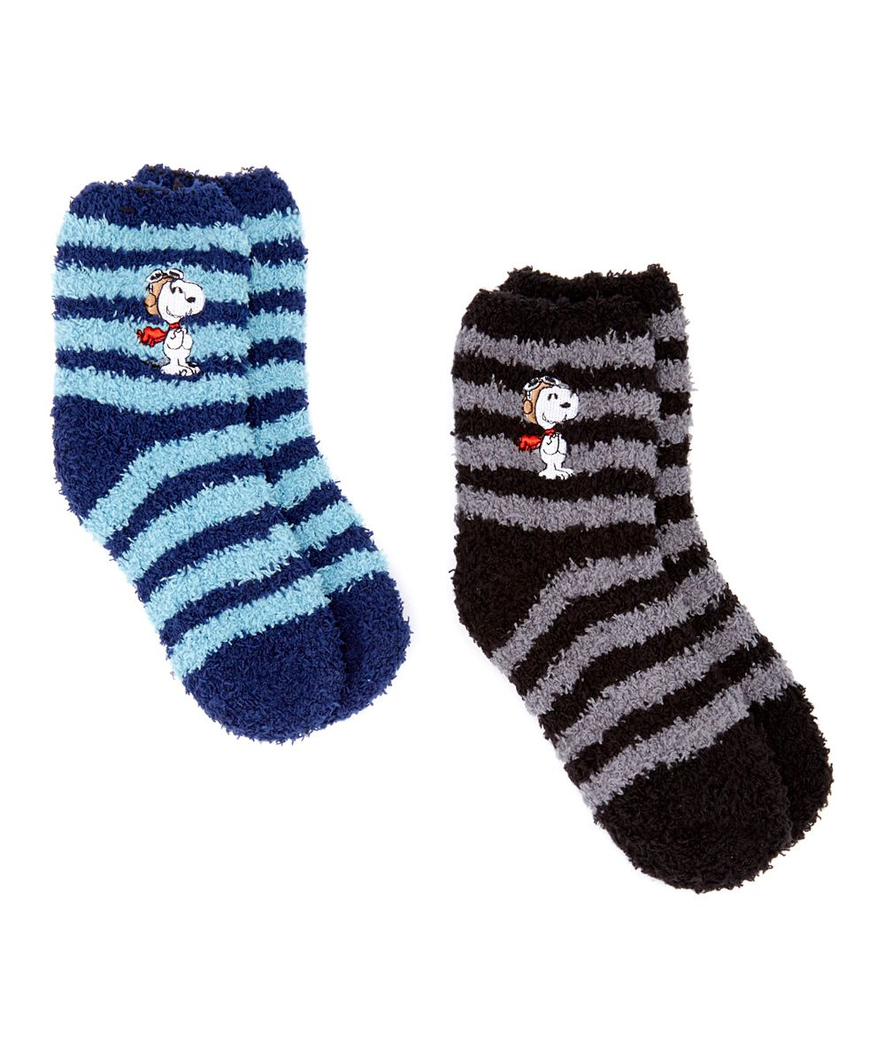 3652984303 Black   Blue Peanuts Snoopy Stripes Two-Pair Socks Set - Kids ...