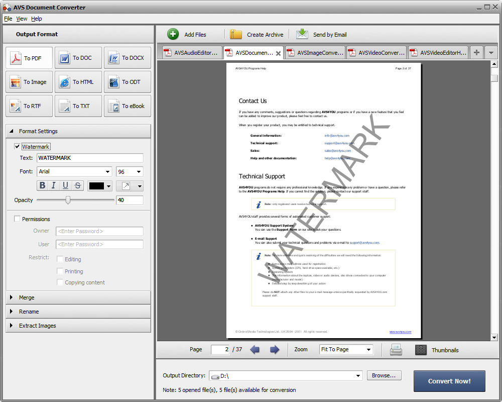 AVS Document Converter. Convert documents between DOC, PDF