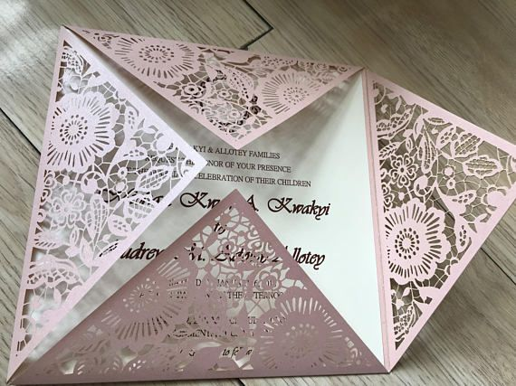50pieces Pink Laser Cut Wedding Invitation Wedding Invitation Pearl