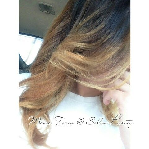 Dark ashy gold base melting into a caramel blonde ombre | My work ...