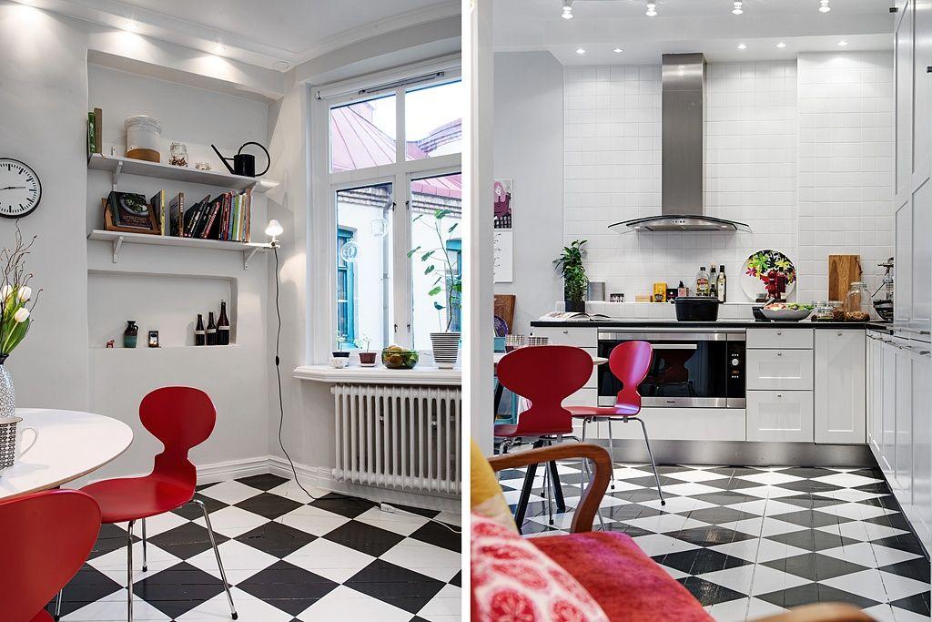 Kuchnia Czarno Biala Podloga Szukaj W Google Scandinavian Interior Kitchen Black White Kitchen Kitchen Interior