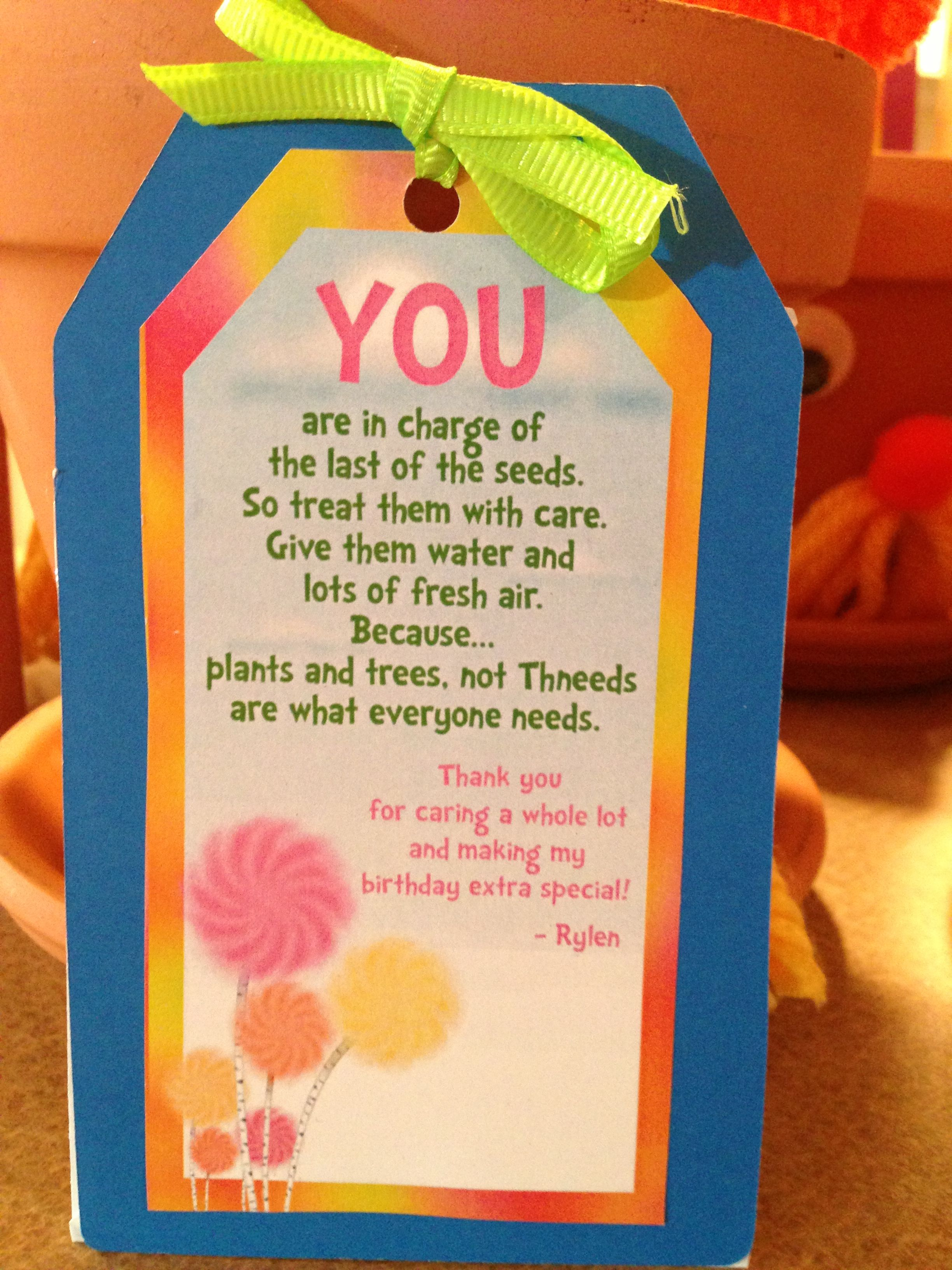 Lorax Party Gift Tag For Planters Lorax Party Bday Party Theme