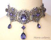 Purple Swarovski Crystal Choker Gothic Wedding Choker Silver Choker Bridal Necklace Victorian Gothic Jewelry Wedding Jewelrychoker