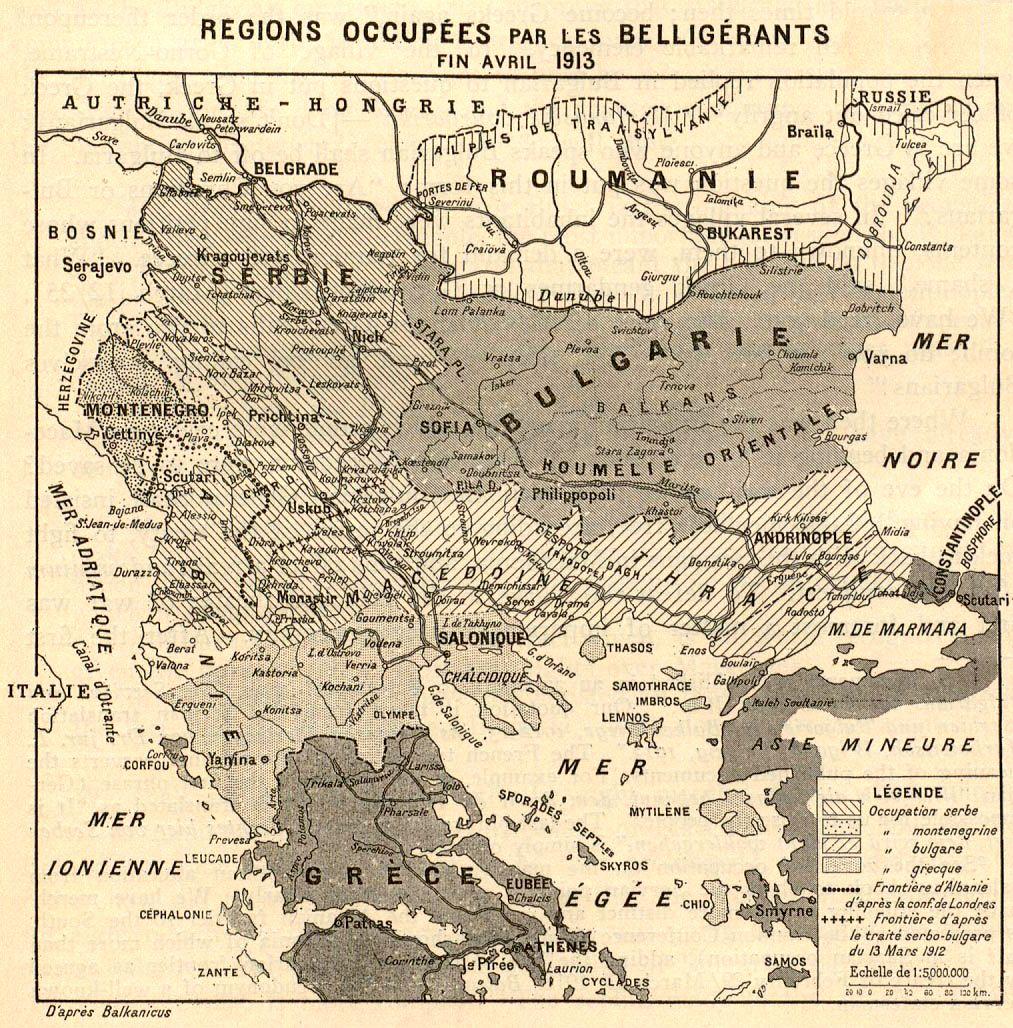 Regions Occupées par les Belligérants fin Avril 1913 First Balkan