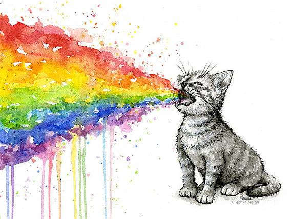 Kitten Puking Rainbow Funny Cat Art Cat Watercolor Painting