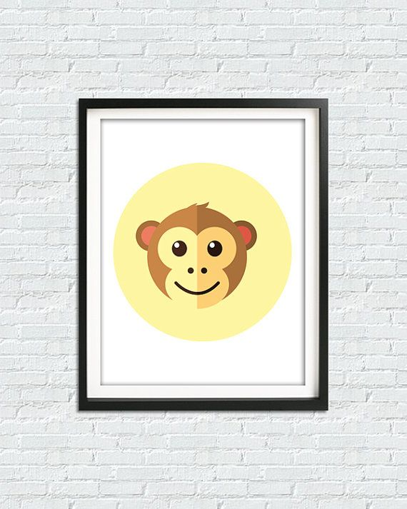 Baby Boy Nursery Art, Monkey Print, Yellow Print, Monkey Baby Shower ...