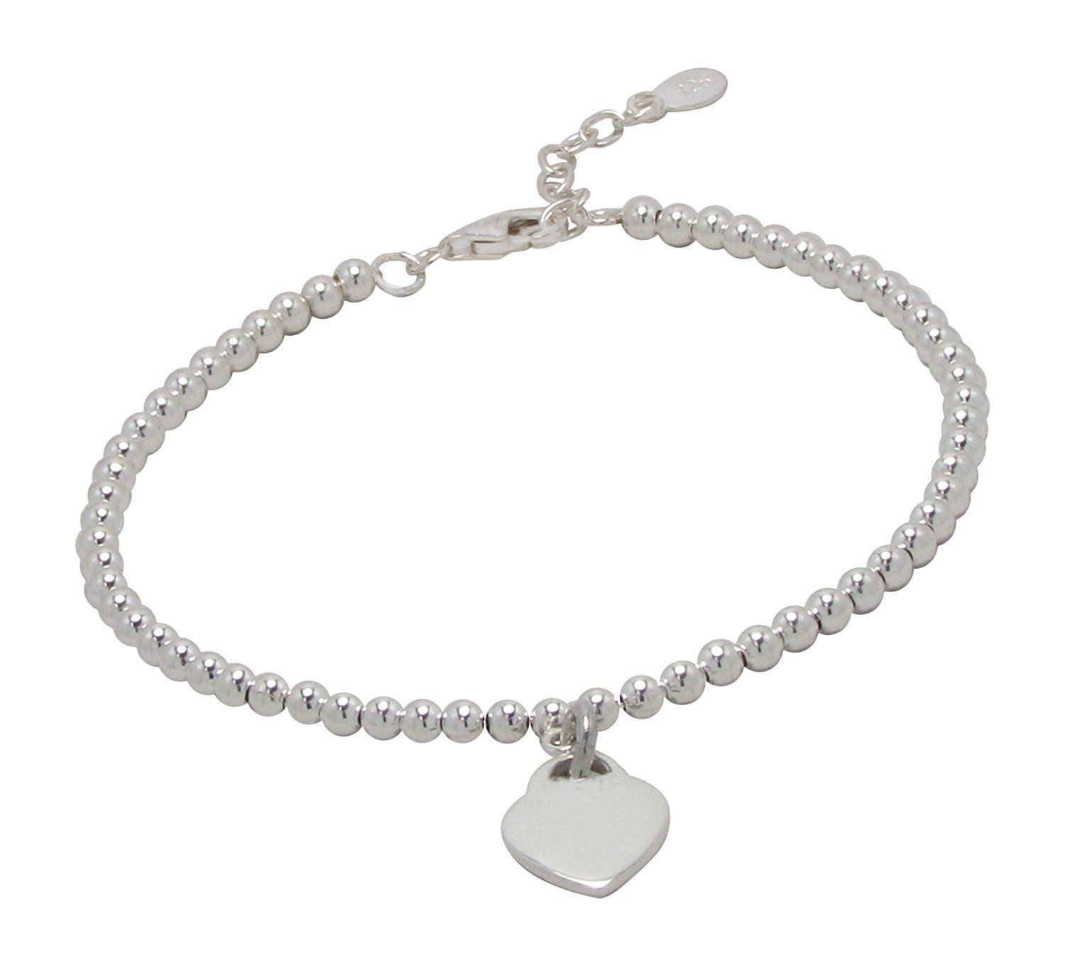Agau sterling silver ball beaded bracelet with heart shaped pendant