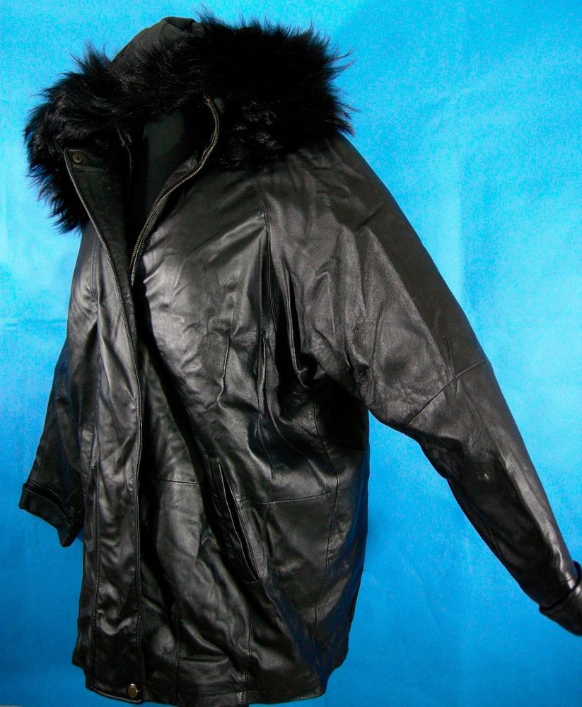 924f5256f Mens Black Leather Jacket XL Fox Fur Hip Hop Loose Lined Hood Removable  Lining #SeventhAvenue #StadiumHipHop