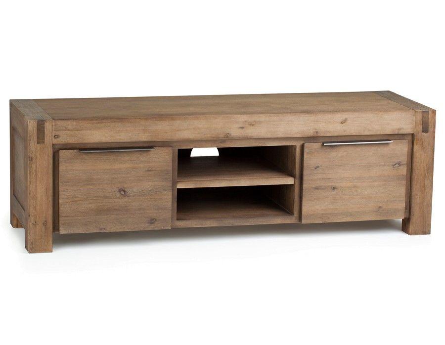 HAMBURG Meuble télé en bois d\u0027acacia massif Condos and Room - Meuble Tv Avec Rangement