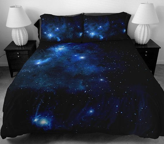 Dark Blue Galaxy Bedding Set Blue Galaxy Duvet Cover Galaxy Sheet With Two  Matching Galaxy Pillow