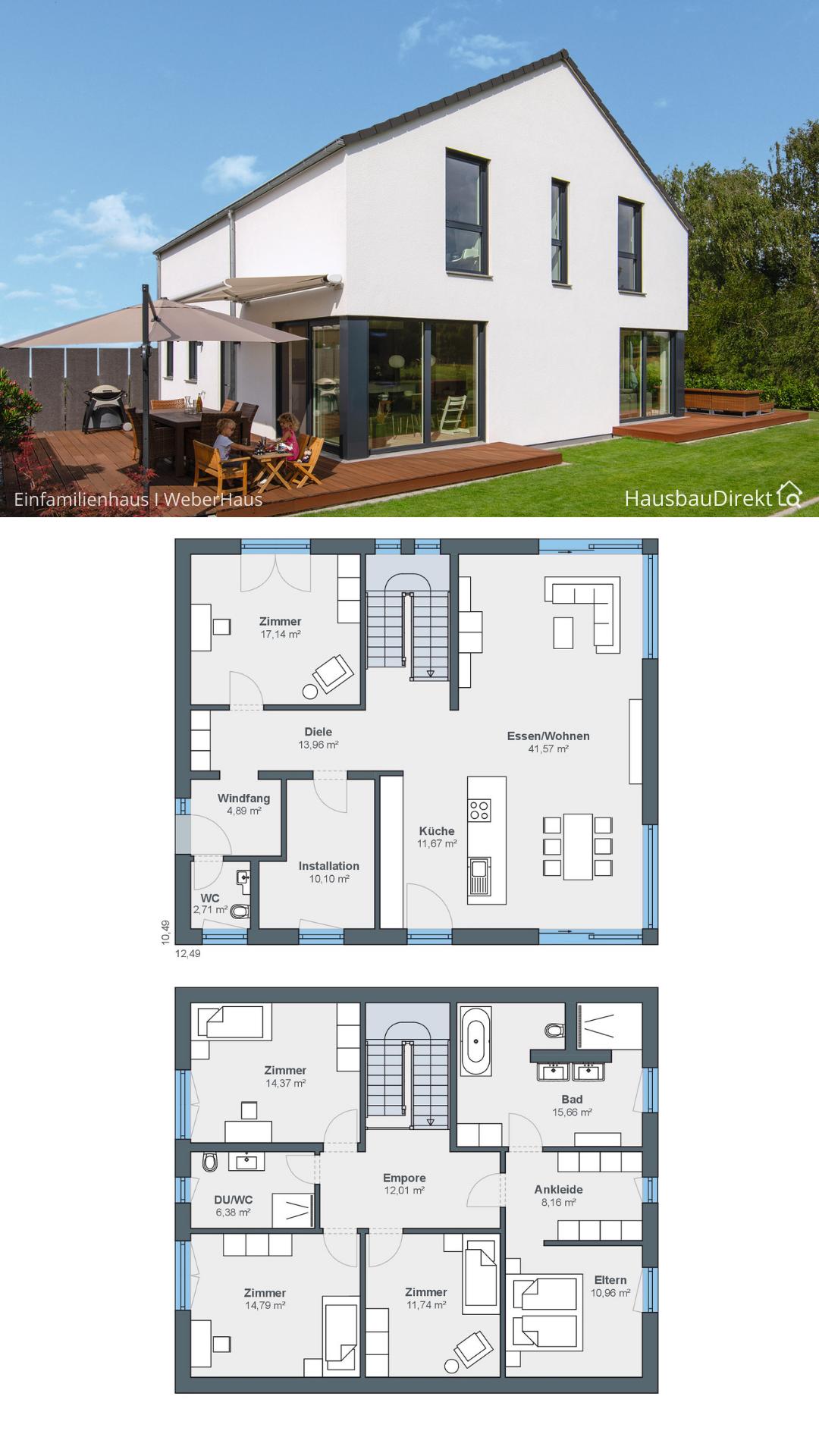Großes Einfamilienhaus modern mit offenem Haus Grundriss & Satteldach 200 qm 6 Zimmer Fertighaus