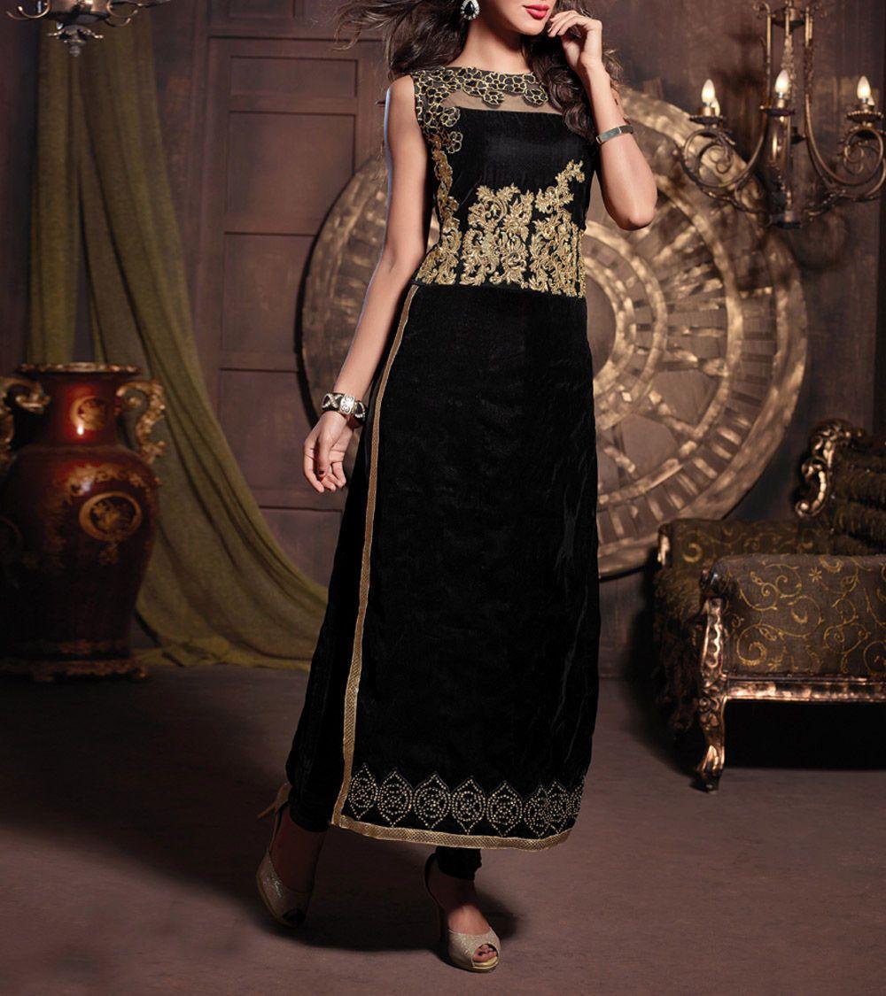 Saree exotica black embroidered velvet semi stitched churidar suit