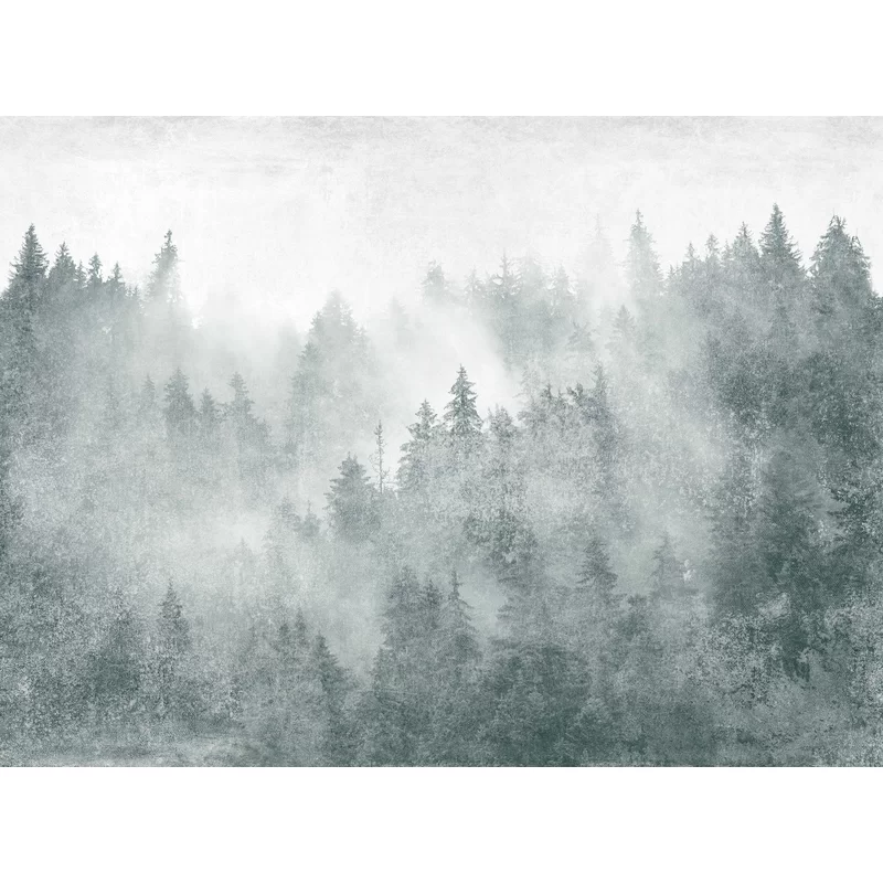 Monochrome Jungle Misty Forest Removable Textile Wallpaper Roll Textile Wall Art Wallpaper Forest Wall Mural
