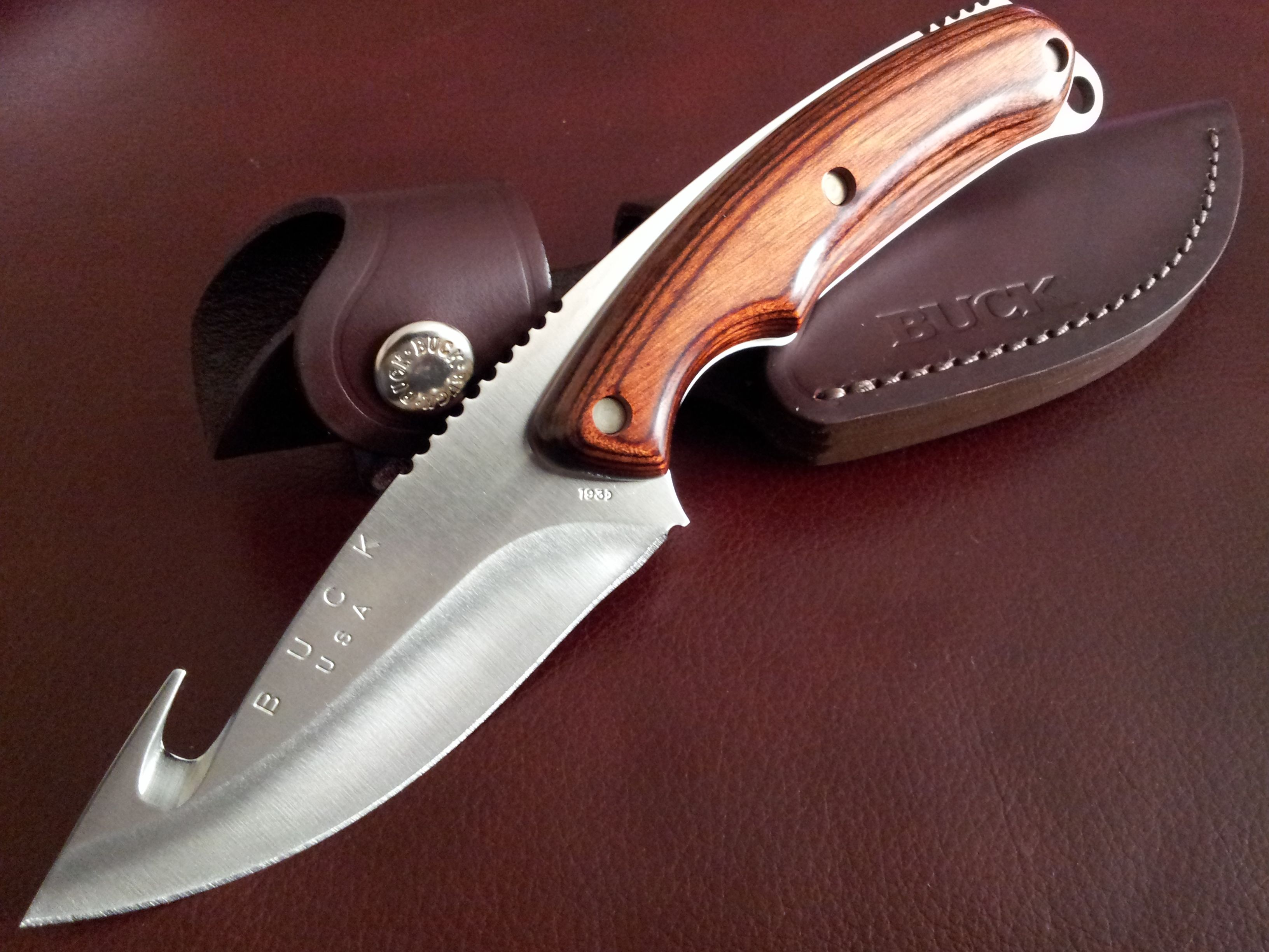 Buck 193 Alpha Hunter Gut Hook Fixed Blade Knife Personal Photo Hunting Knife Knife Buck Knives