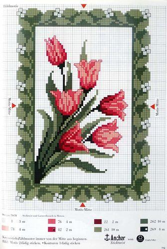 Røde tulipaner, i korssting..