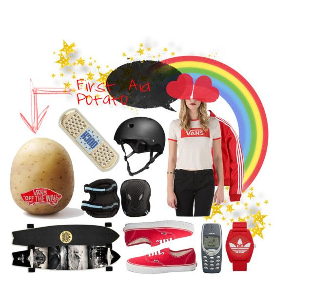 """Skater Essentials"" by oneeyekitten ❤ liked on Polyvore featuring Anya Hindmarch, Vans and adidas"