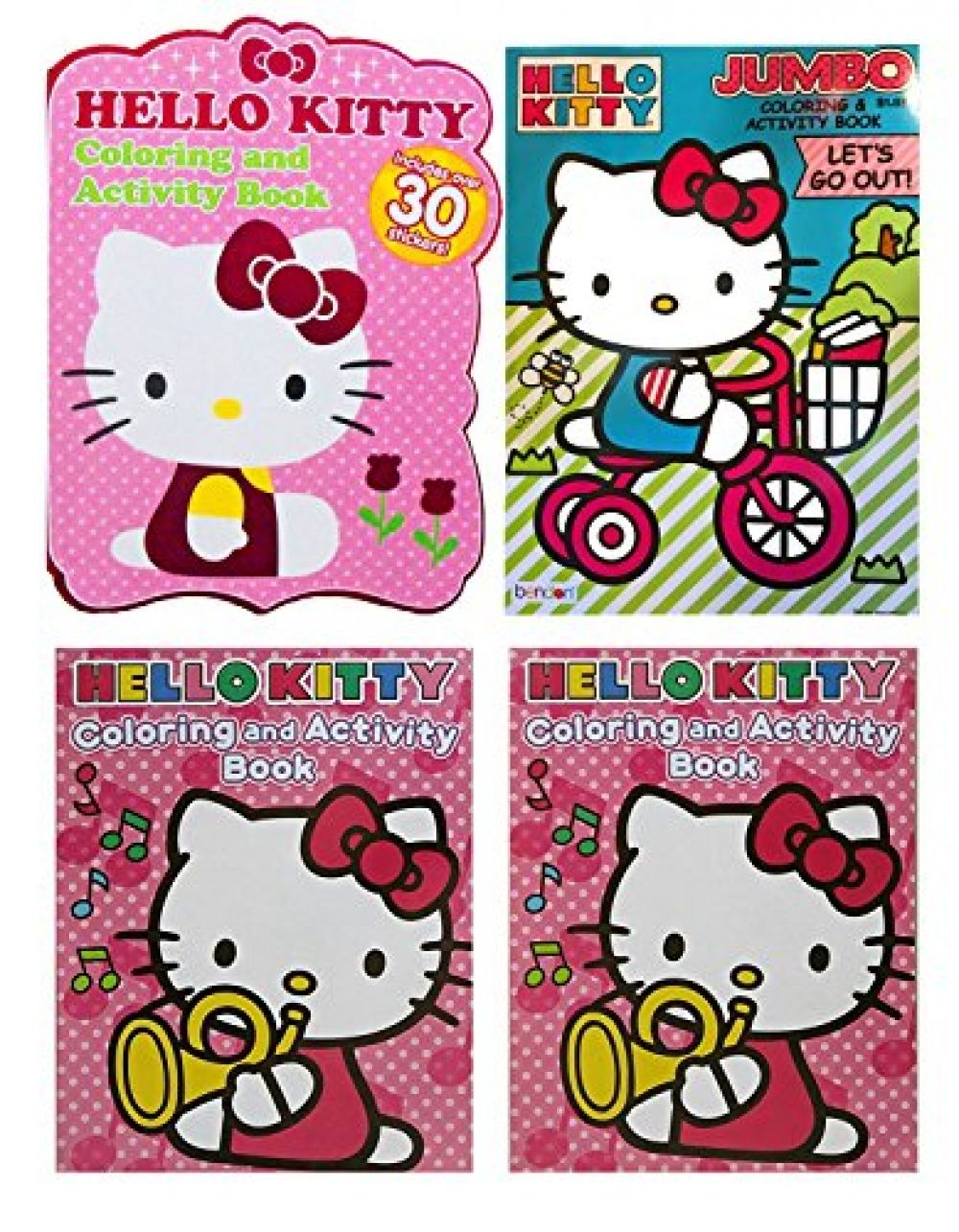 Set Of 3 Hello Kitty 96 Page 64 Page Jumbo Coloring Books Over 300 Pages To Color World Of Hello Kitty