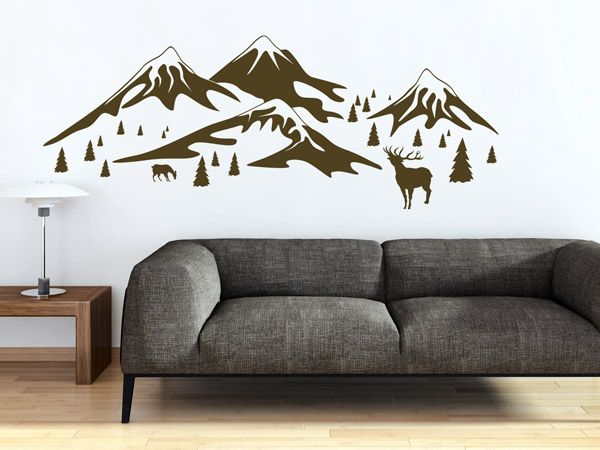 sch ne alpen deko mit wandtattoos hirsche berge und tannen wohntrend wand. Black Bedroom Furniture Sets. Home Design Ideas