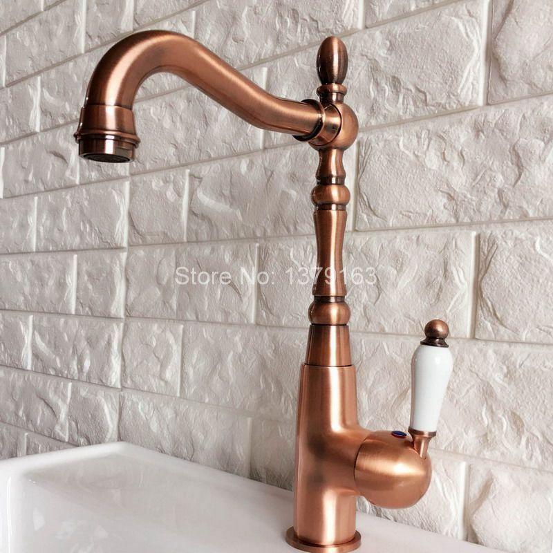 Antique Copper  Kitchen Basin Sink Faucet Deck Mount Single Handle Mixer Tap