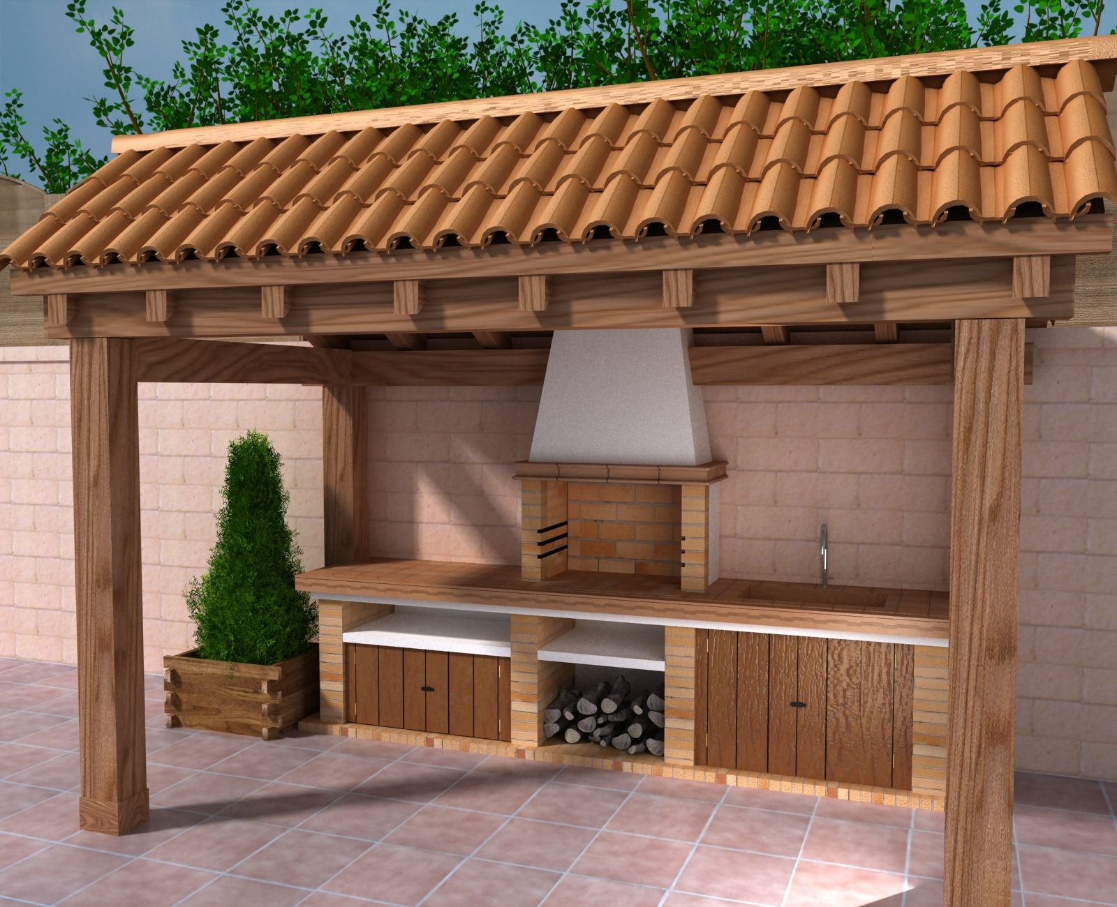 Modelos de barbacoas rusticas cerca amb google cocina for Ideas para hacer un techo en el patio