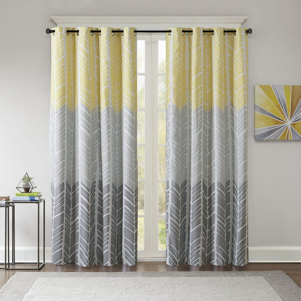Beautiful Modern Yellow Grey Blue Aqua Chevron Geometric Curtain Panel Set Yellow And Grey Curtains Panel Curtains Yellow Curtains