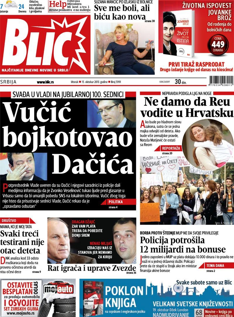 "Naslovna strana ""Blica"" za 15. oktobar 2013. Movie"
