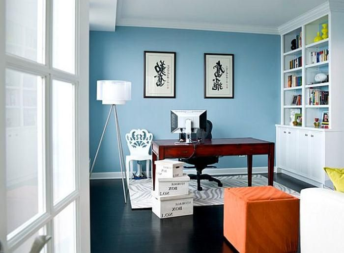 Blue Office Paint Colors Jpg 700 516 Home Office Colors Home Office Design Office Wall Colors