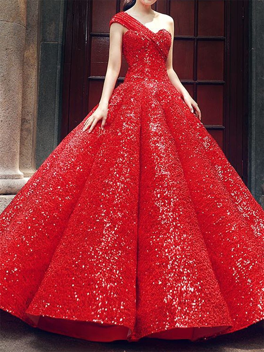 Buy Women S Wedding Dress Elegant Solid Color Sequined One Shoulder Bubble Design Dress Wedding Dress Strapless Evening Dress Bridal Gowns Vintage Ball Gowns [ 1200 x 900 Pixel ]